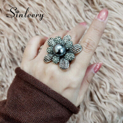 Vintage Big Flower Rhinestone Gray Pearl Rings For Women Antique Silver Plated