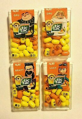 4 x LIMITED EDITION DESPICABLE ME 3 MINION TIC TAC 24g - Fast & Free post -