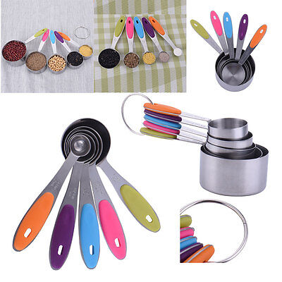 5pcs Colorful Stainless Steel Measuring Spoons Cups Set Teaspoon Kitchen tool