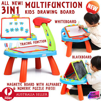 3 in 1 Kids Magnetic Drawing Board Sketch Pad Doodle Tracing Draw Puzzle Art Set