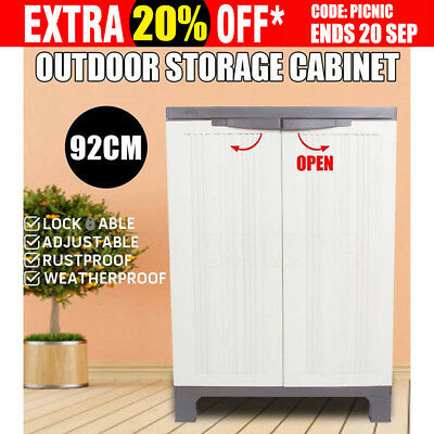 NEW 92cm Lockable Outdoor Storage Cabinet - Cupboard Garage Shed Carport