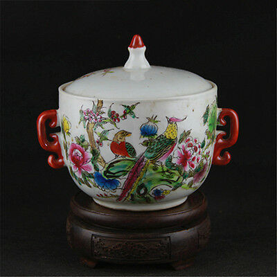 Chinese Asian Bird Floral Antique Porcelain Pot Decorated Old Jar with Lid #36