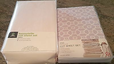 2 Target Cot Sheet Sets - Pale Pink Flannelette & Lilac/white Lattice New