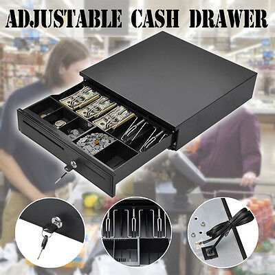 Heavy Duty Cash Drawer Box 4Bill&Coin Removable Trays Compatible  Electronic