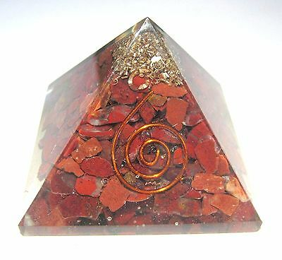 Excellent Red jasper 61 grams feng shui orgone pyramid crystal healing gift