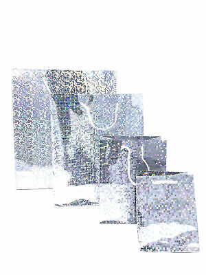 12 Pack Silver Holographic Gift Bags Foil Party Presents Bulk Buy Christmas