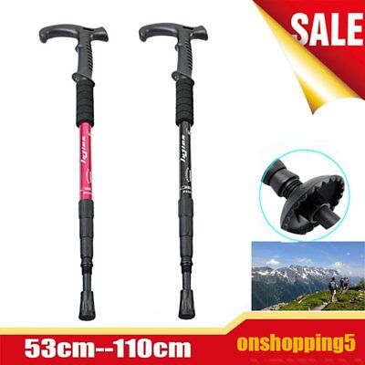 Retractable Anti Shock Walking Sticks Telescopic Trekking Hiking Poles Canes BS
