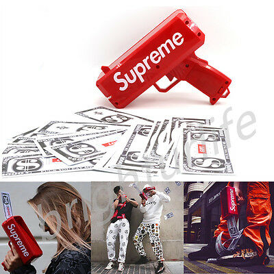 Hot New Red Supreme Cash Cannon Money Gun In Box Toy Fun Gifts UK Stock