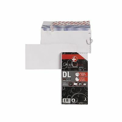 Plus Fabric DL Envelopes 110gsm Peel and Seal White (Pack of 25) [JD10004]
