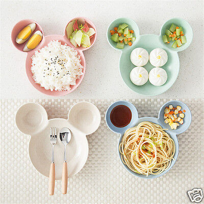 Cartoon Animal Infant Baby Feeding Tableware Bowl Three Compartments Rice Dishes
