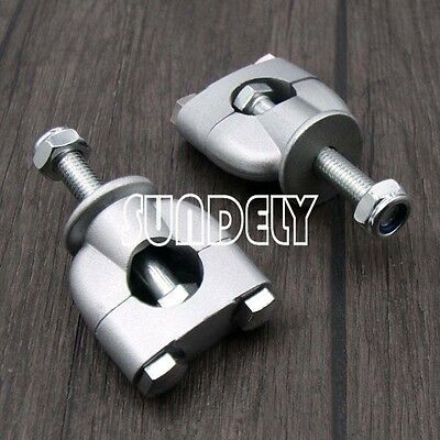 "2X Silver Metal 7/8"" 22mm Motorcycle Handlebar Handle Fat Bar Mount Clamps Riser"