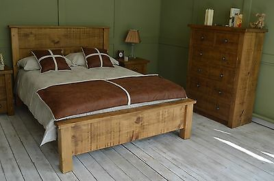 SPECIAL PRICE 2 LEFT HADDON RUSTIC Capped Plank Bed Double (4'6ft) Low Foot End