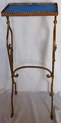 Beautiful Antique Cast Iron Plant Stand - Blue Textured Glass Tray - VGC  PRETTY