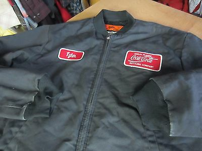 COCA-COLA coke PATCH driver WORK JACKET coat zip Mens Large L R quilted cintas