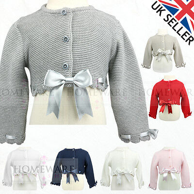 Girls Bow Bolero Cardigan Spanish Style Slotted Ribbon Bows Ages 0-6 M - 8 Years