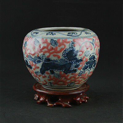 Chinese Asian Glaze Dragon Antique Porcelain Pot Decorated Old Jar #25