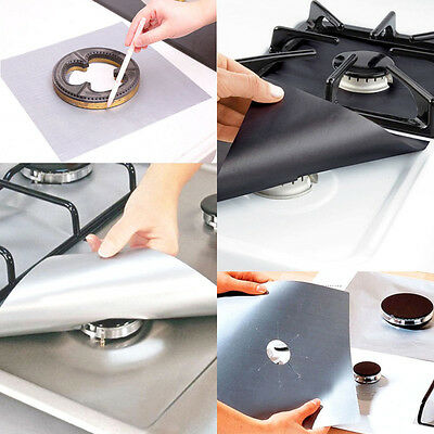 4Pcs Reusable Gas Range Stove Top Burner Protector Liner Cover Kitchen Cleaning