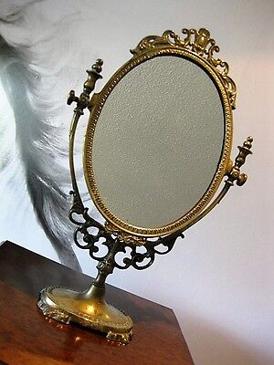 Beautiful Antique Art Nouveau in Style Brass Oval Dressing Table / Vanity Mirror