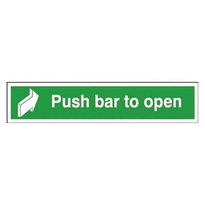 Safety Sign Push Bar to Open 75x600mm Self-Adhesive E14C/S [SR71228]
