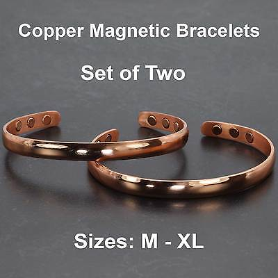 Copper Bracelets Men Women – SET of TWO Healing Magnetic Bangles Armbands – CS2
