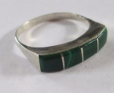 DARK GREEN vintage silver tone ring 7 accent color band VGUC