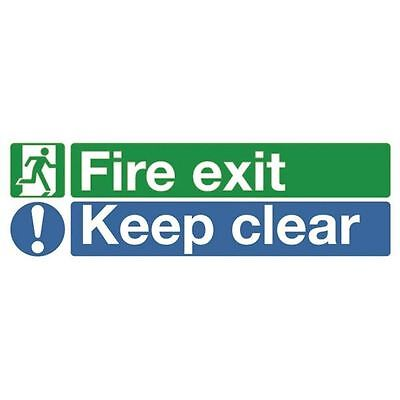 Safety Sign Fire Exit Keep Clear 150x450mm Self-Adhesive EC08S/S [SR71733]