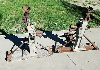 (2) SIMPLEX A 1029 10 Ton Reel Pair of Jack Stands Railroad Tractor  PS01