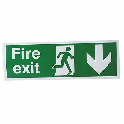 Safety Sign Fire Exit Running Man Arrow Down 150x450mm Self-Adhesive  [SR71172]