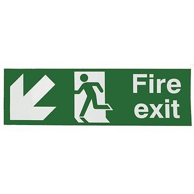 Safety Sign Fire Exit Running Man Arrow Down/Left 150x450mm [SR71725]