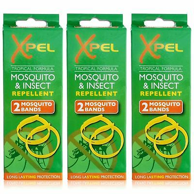 Xpel 6 x Adult Mosquito & Insect Bug Repellent Wrist Bands Protection Bracelets