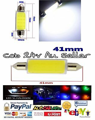 2 x 24V 42mm Cob LED WHITE FESTOON LIGHT Bulb -Truck/Trailer/RV/Caravan/Interior