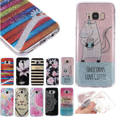 Ultra Thin Soft TPU Rubber Glitter Bling Case Cover For Samsung Huawei Phone