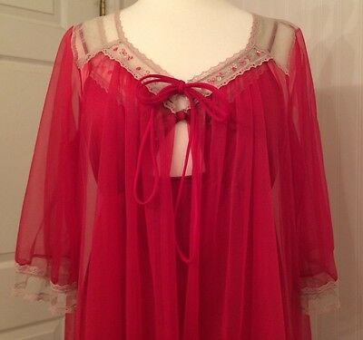 vintage negligee peignoir robe and gown, sheer, lace, cranberry color