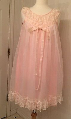 vintage negligee peignoir robe and gown, sheer, lace, ribbon, pink