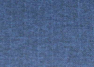J Brown Mckenzie Herringbone Tweed Soft Wool Look Blue Fabric £6.99 Per Metre