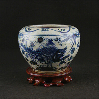 Chinese Asian Blue and White Fish Antique Porcelain Pot Old Jar Vintage #118
