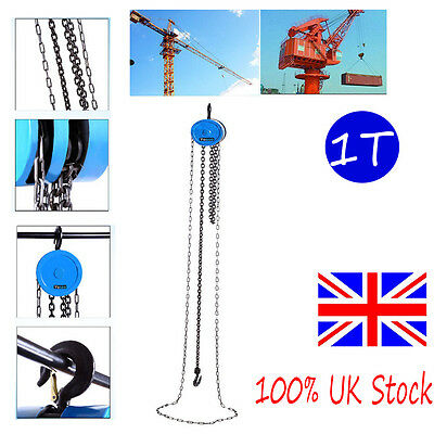 500KG Round Chain Block Tackle Hoist Garage Car Engine Heavy Load Lifting Winch