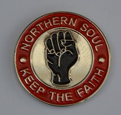 Red Northern Soul Keep The Faith Lapel Pin Badge