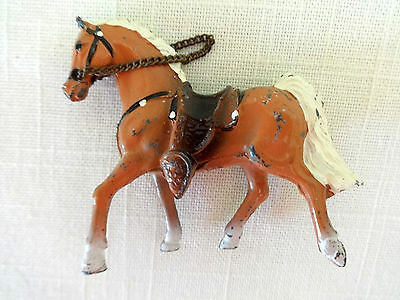 Painted Toy Metal Horse with Western Saddle, Reins, Palomino, Chestnut Miniature