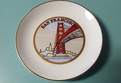Vintage San Francisco Souvenir Japan Porcelain Golden Gate Bridge Plate Gold Rim