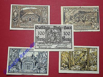 Notgeld Thale , Bodetalserie , 5 Scheine , german emergency money in  kfr/unc