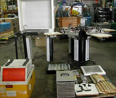 Printa 770 Series Deluxe 6 Color Screen Printing Press Washout Booth Used