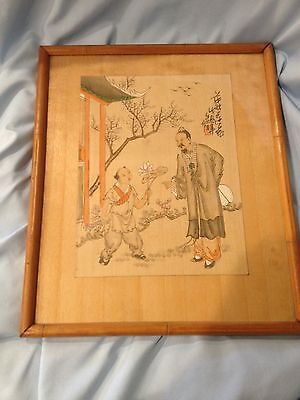 Old Asian Painting Signed, Possible Gouache With Hidden Treasure