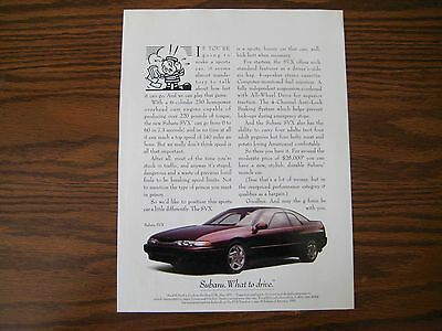 1991 SUBARU SVX COUPE - Print Car Ad - Original - Excellent Condition