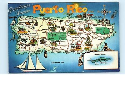Greetings from puerto rico fort geronemo escambron vintage postcard 1970s greetings from puerto rico map sea sailboats old vintage postcard c04 m4hsunfo