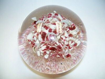 Vintage Art Glass Five Trumpet Flower Bubbles Paperweight, Glass Rod BOTTOM nr