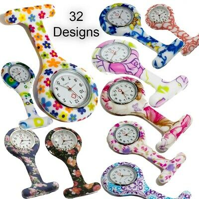 New nurse silicone watches brooch style fob watch with flower print
