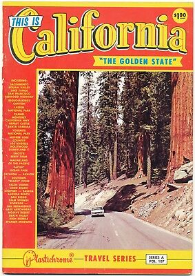 Vintage Pictorial Guide California Golden State, Plastichrome Travel Series Book