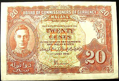 Malaya George VI 20 Cents 1st July 1941 Note EF