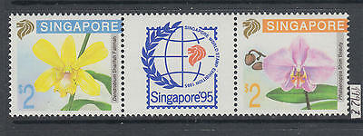 XG-AI339 SINGAPORE IND - Flowers, 1992 Orchids, Stamp Exhibition, Strip MNH Set